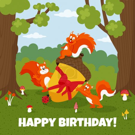 Vector illustration of cute squirrels in the fores...