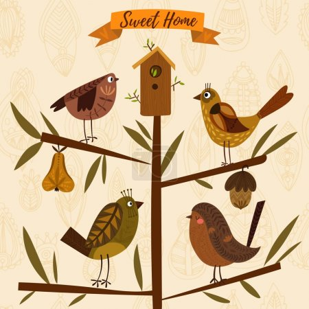 Lovely autumn concept card made of leafs and birds in vector. Fl