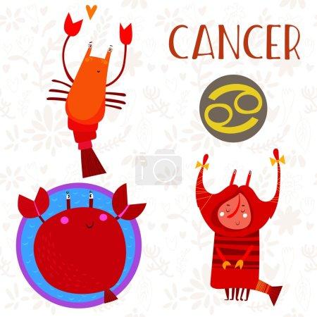 niedlich sternzeichen sign cancer different illustrationen