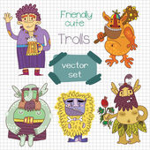 Friendly cute trolls set