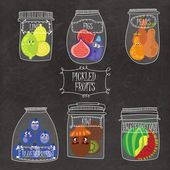 Pickled fruits  in vector set -  limes figs pears blueberries watermelon kiwi