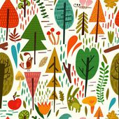 Forest background with cute animals