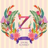The letter Z Floral hand drawn monogram made of flowers and lea