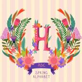 The letter H Floral hand drawn monogram made of flowers and lea