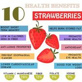10 Health benefits information of Strawberries Nutrients infographic  vector illustration - stock vecto