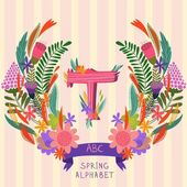 The letter T Floral hand drawn monogram made of flowers and lea