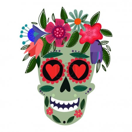 Illustration for Concept Vector Card- Cute Skull with floral wreath.Vector illustration in mexican traditio - Royalty Free Image