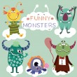 Vector set with cartoon cute monsters...