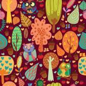 Cartoon trees and owls
