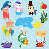 Cartoon vector set with fishes
