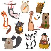 Vector set of small mammals in cartoon style