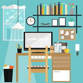Set of flat icons for home office and freelancer office desk