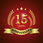 Celebrating 15 Years Anniversary - Golden Wreath Seal with Ribbon vector illustration
