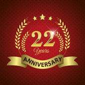 Celebrating 22 Years Anniversary - Golden Wreath Seal with Ribbon vector illustration