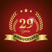 Celebrating 29 Years Anniversary - Golden Wreath Seal with Ribbon vector illustration