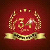 Celebrating 34 Years Anniversary - Golden Wreath Seal with Ribbon vector illustration