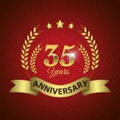 Celebrating 35 Years Anniversary - Golden Wreath Seal with Ribbon vector illustration