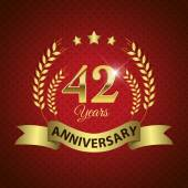 Celebrating 42 Years Anniversary - Golden Wreath Seal with Ribbon vector illustration