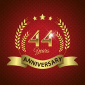 Celebrating 44 Years Anniversary - Golden Wreath Seal with Ribbon vector illustration