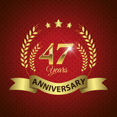 Celebrating 47 Years Anniversary - Golden Wreath Seal with Ribbon vector illustration