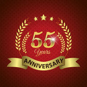 Celebrating 55 Years Anniversary - Golden Wreath Seal with Ribbon vector illustration