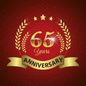 Celebrating 65 Years Anniversary - Golden Wreath Seal with Ribbon vector illustration