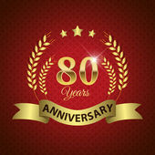 Celebrating 80 Years Anniversary - Golden Wreath Seal with Ribbon vector illustration