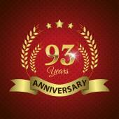 Celebrating 93 Years Anniversary - Golden Wreath Seal with Ribbon vector illustration