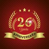 Celebrating 26 Years Anniversary - Golden Wreath Seal with Ribbon vector illustration
