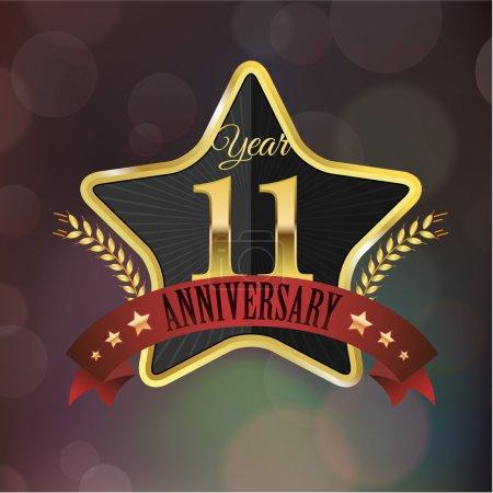 11 year Anniversary golden star seal with laurel w...