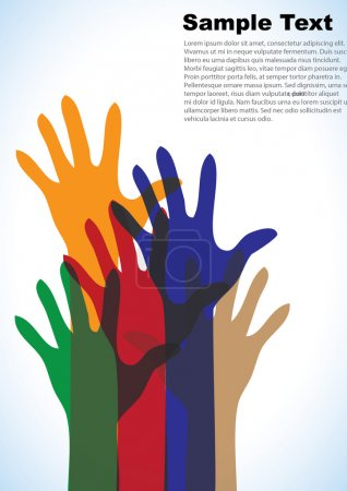 Illustration for Colorful up hands on white background, vector illustration - Royalty Free Image