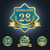 Celebrating 28 Years Anniversary - Golden Star with Laurel Wreath Seal with Red Golden - Layered EPS 10 Vector