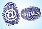 HTML and EMail symbol in thumbprint on blue background