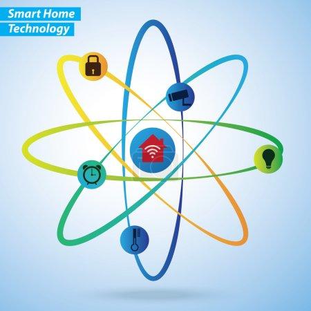 Illustration for Smart Home infographics on blue background - Royalty Free Image