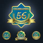 Celebrating 56 Years Anniversary - Golden Star with Laurel Wreath Seal with Red Golden - Layered EPS 10 Vector
