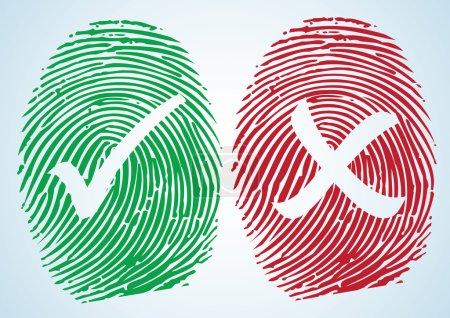 Tick and Cross on the thumbprint