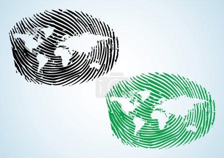 Illustration pour Global Citizen - une empreinte de pouce avec une carte du monde dessus - image libre de droit