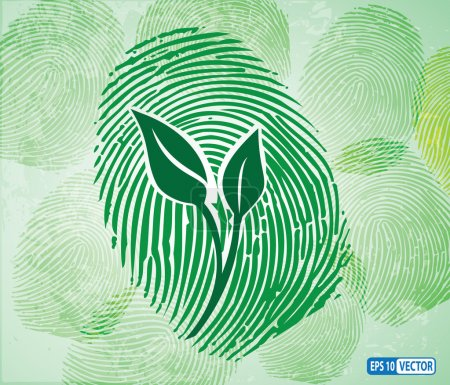 Illustration for Creative Concept Vector Background - Ecology concept icon green leaves on thumbprint - Royalty Free Image