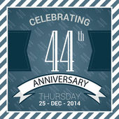 44th Anniversary poster stamp template design in retro style - Vector Background