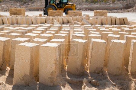 White tufa blocks
