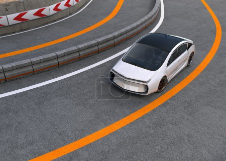 White electric car on highway
