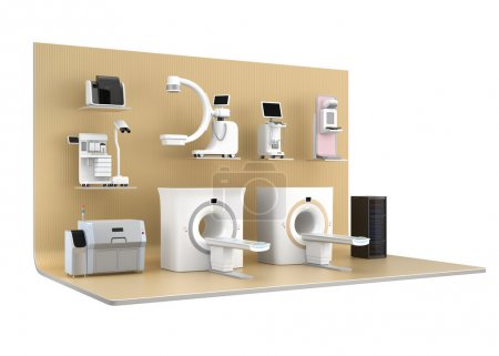 Medical imaging system on light golden color exhibition stage