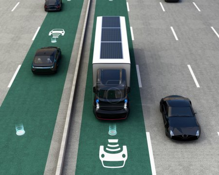 Hybrid truck and blue electric car on wireless charging lane