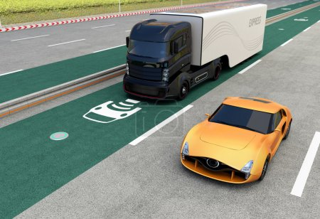 Hybrid truck on wireless charging lane