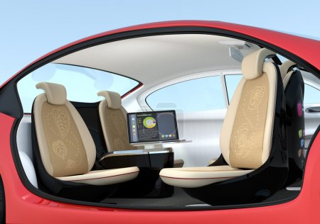 Self-driving car interior concept.