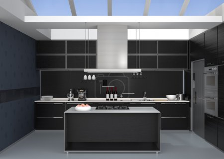 Modern kitchen interior with smart appliances in black color coordination