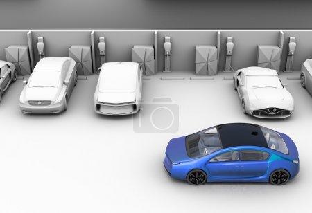 Blue car in parking lot