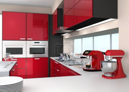 Modern kitchen interior with stylish coffee maker, food mixer. Red color theme.