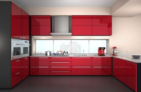 Photo for Modern kitchen interior with stylish coffee maker, and food mixer. Red color theme. - Royalty Free Image