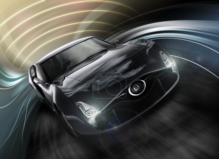 Front view of sports car with dynamic graphic motion blur